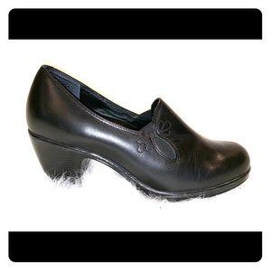 Dansko Raphael Black Leather Slip On Heels